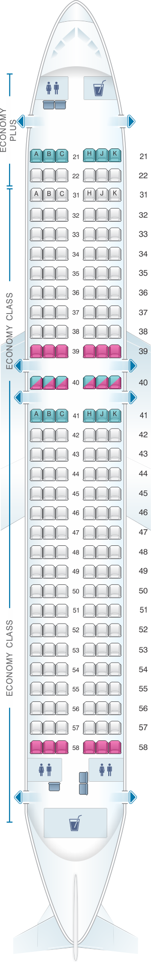 Seat map for Philippine Airlines Airbus A320 200 180PAX