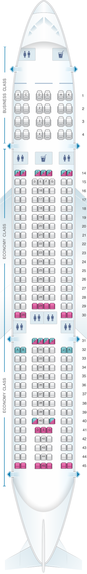 Seat map for Vietnam Airlines Airbus A330 200 266PAX