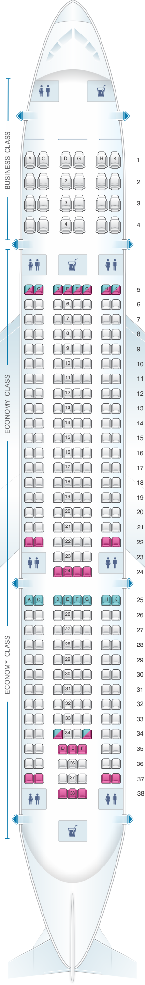 Seat map for Vietnam Airlines Airbus A330 200 280PAX V1