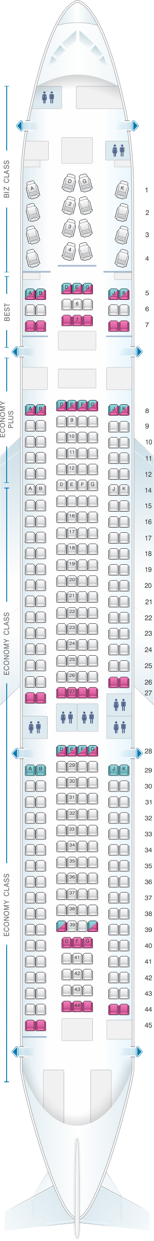 Seat map for Eurowings Airbus A330 300