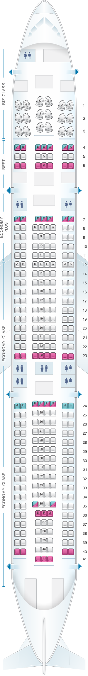 Seat map for Eurowings Airbus A340 300