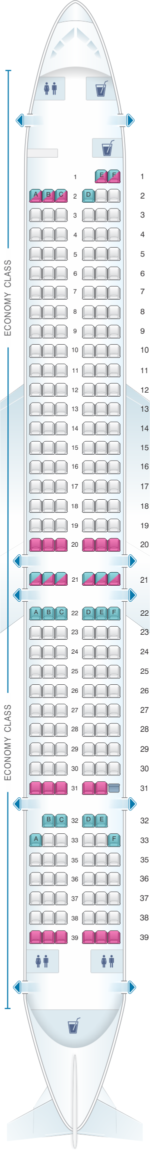 Seat map for Lion Air Boeing B737 MAX 9