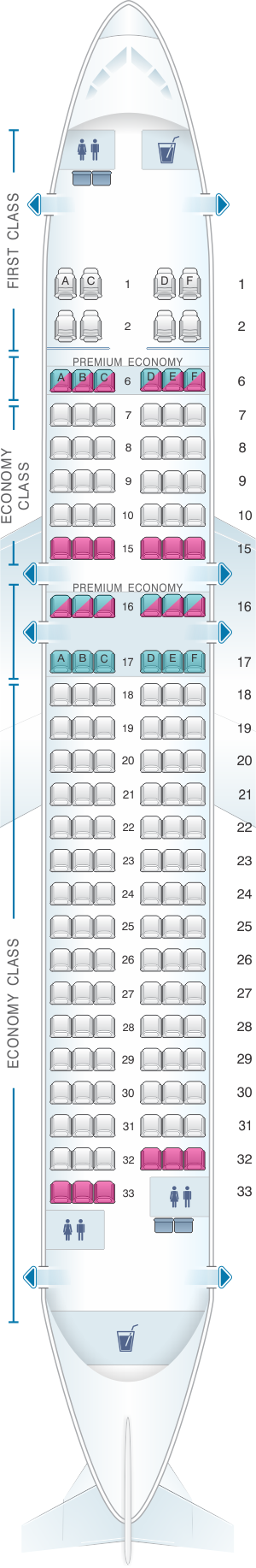 Seat map for Alaska Airlines - Horizon Air Airbus A320 214 sharklet