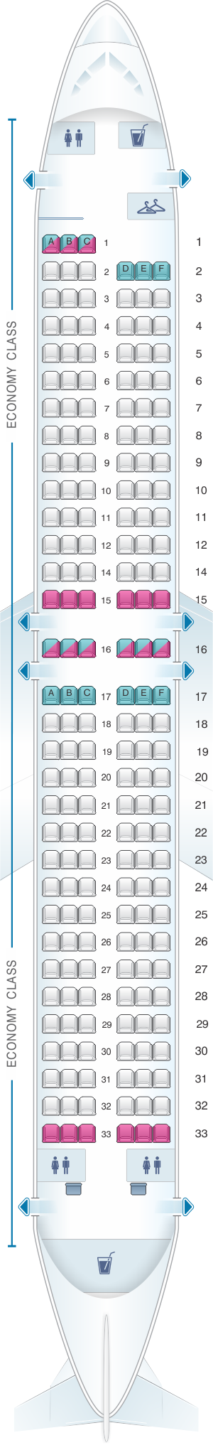 Seat map for Corendon Airlines Boeing B737 MAX 8