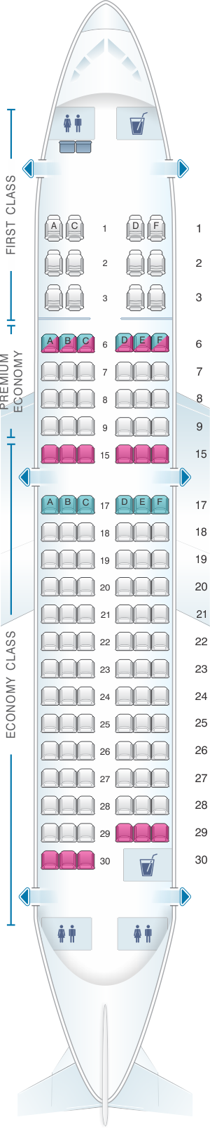 Seat map for Alaska Airlines - Horizon Air Airbus A319 112 retrofit