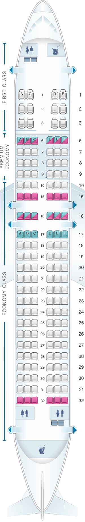 Seat map for Alaska Airlines - Horizon Air Airbus A320 214 sharklet retrofit