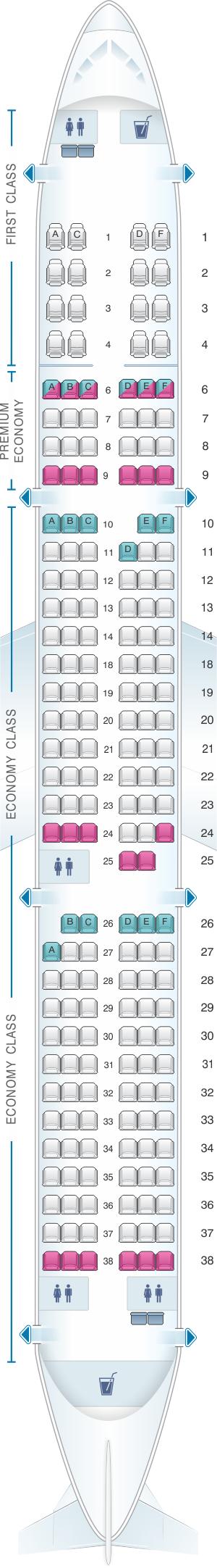 Seat map for Alaska Airlines - Horizon Air Airbus A321 NEO retrofit