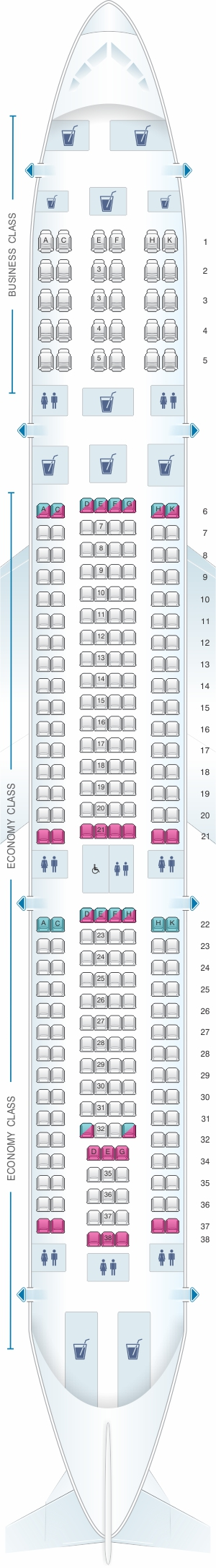 Seat map for Air Canada Airbus A330 300 config.2