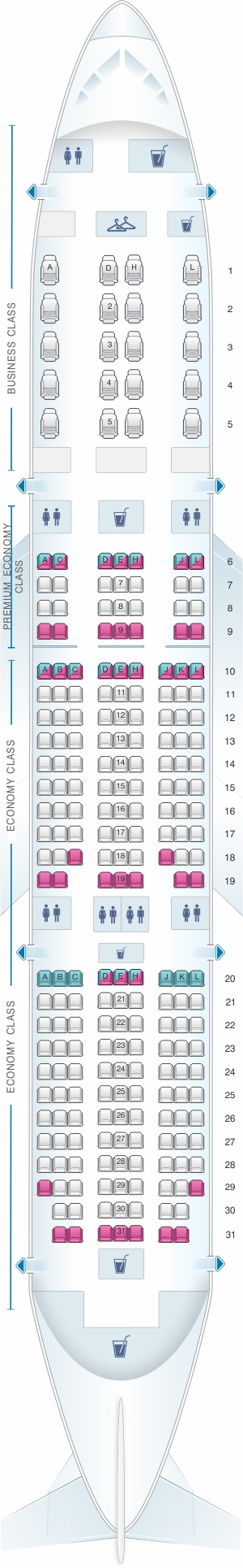 Seat map for American Airlines Boeing B787-8 config.2