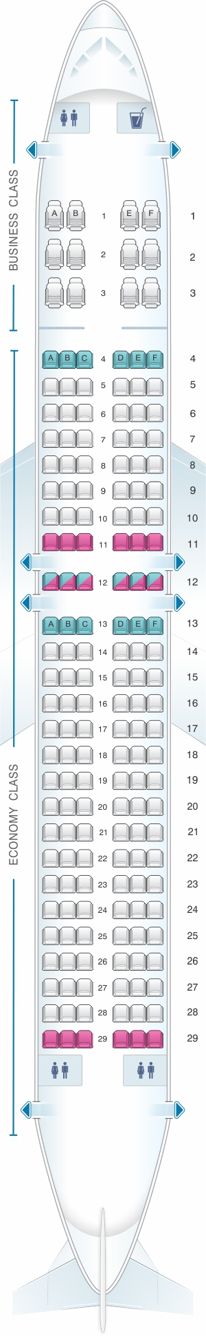 Seat map for SpiceJet Boeing B737 800 config.2