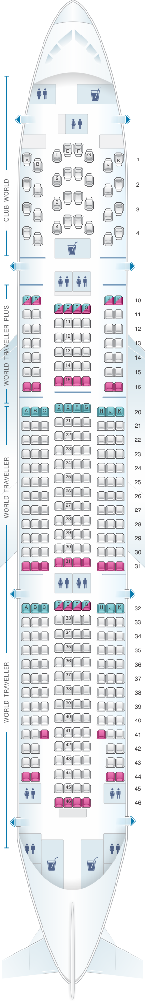 Seat map for British Airways Boeing B777 200 LGW layout