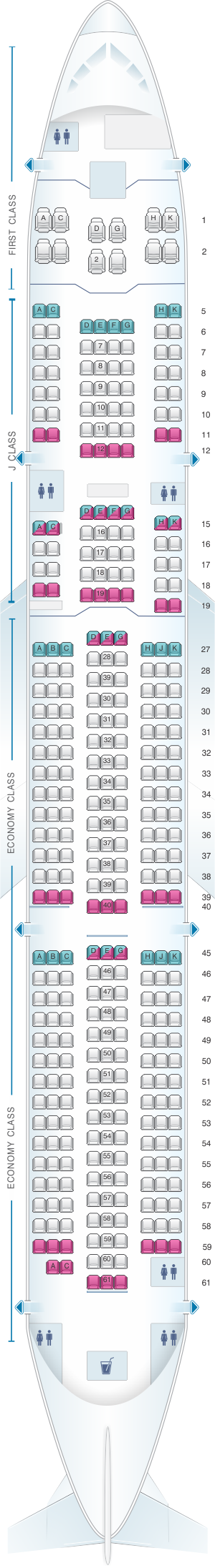 Seat map for Japan Airlines Airbus A350 900