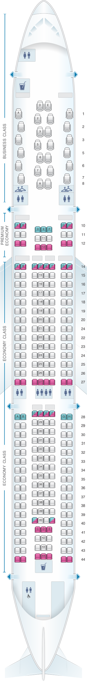 Seat map for Air Calin Airbus A330 Neo